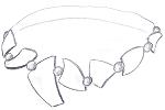 Skizzen Entwurf nach Kundenwunsch Kollier Kette aus 585 Gelbgold mit Perlen