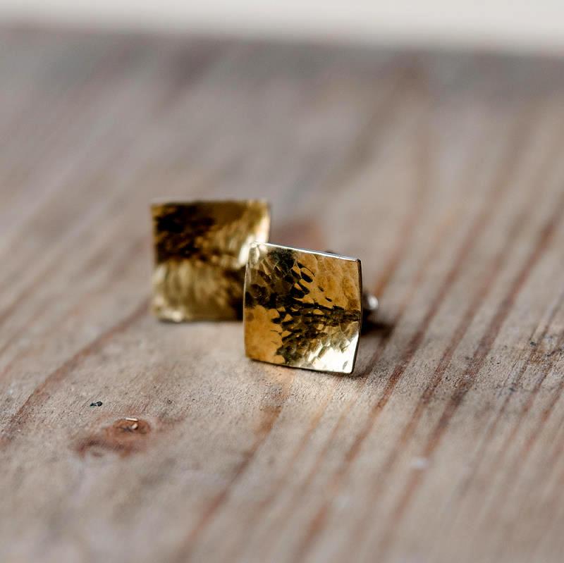 Ohrstecker aus 925 Silber und 750 Gelbgold (18k) antiklastisch geschmiedet